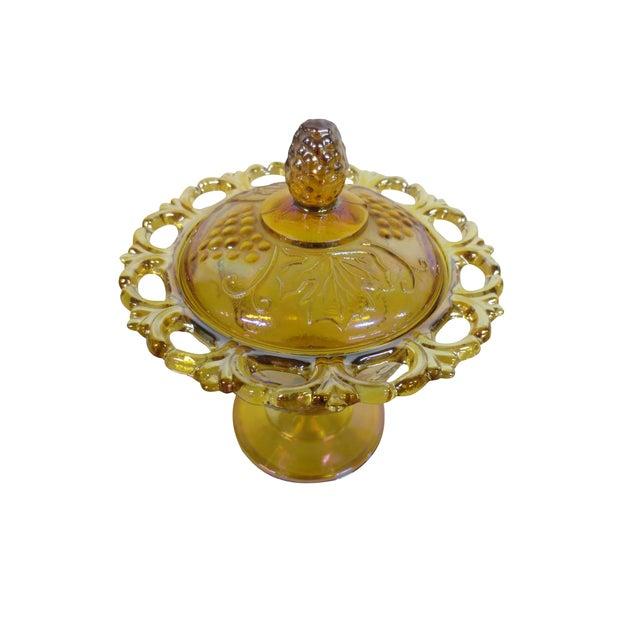 Ornate Marigold Glass Candy Dish - Image 1 of 5