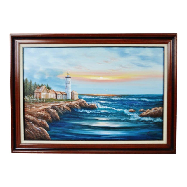 Vintage Framed Nautical Lighthouse Seascape Oil on Canvas - Artist Signed For Sale
