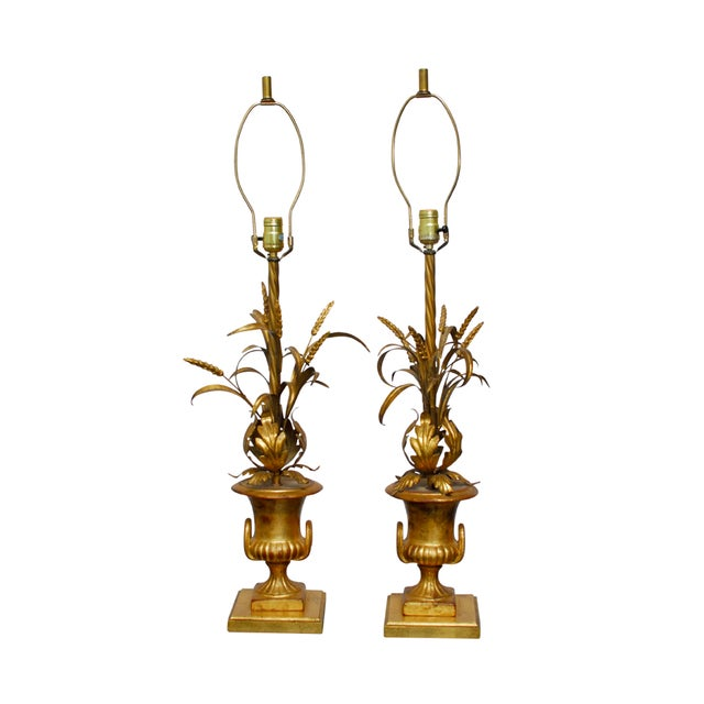 Hollywood Regency Gilt Urn Table Lamps - Pair - Image 1 of 8