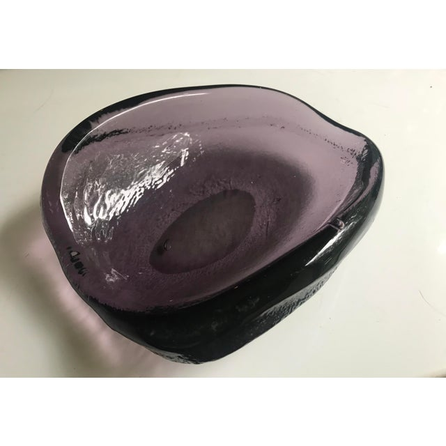 Blenko Vintage Glass Ashtray Violet Thick Murano Style For Sale - Image 4 of 8