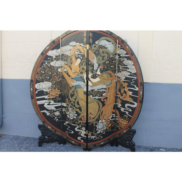 Black Art Deco Oriental Round Carved Base/ Detailed Room Dividing Screen For Sale - Image 8 of 13