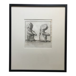 18th Century Engraving With Etching of Il Torso DI Belvedere For Sale
