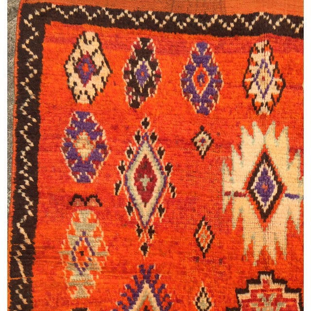 """A Very Old Fine and Rare Vintage Orange Moroccan Azilal Rug - 4'2"""" X 10' - Image 5 of 5"""