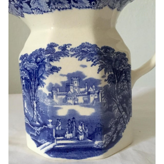 Ceramic Antique Mason's Blue and White Ironstone Transferware Jug For Sale - Image 7 of 8