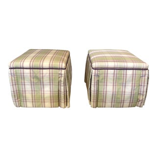Traditional Light Green Plaid Upholstered Skirted Benches - a Pair