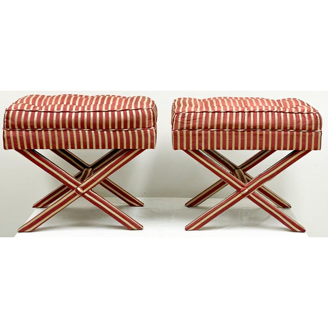 Late 20th Century Pair of Mario Buatta Style Neo-Classical X-Benches For Sale - Image 5 of 6
