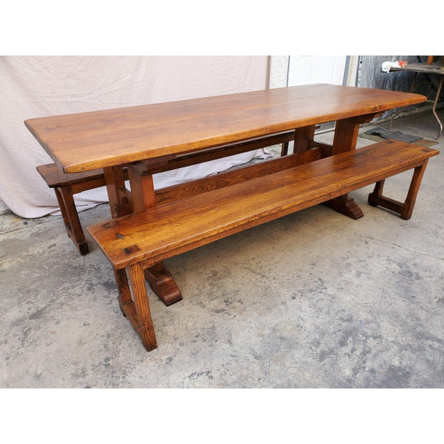 Brown Antique Plank Solid Oak Refectory Dining Table With a Pair of Monastery Benches - 3 Pieces For Sale - Image 8 of 13