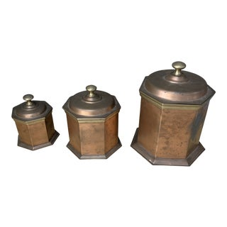 Antique English Traditional Brass and Copper Nesting Canisters - Set of 3 For Sale