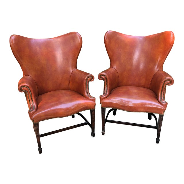 1960s Mid-Century Modern Brown Faux Leather Wingback Chairs - a Pair For Sale