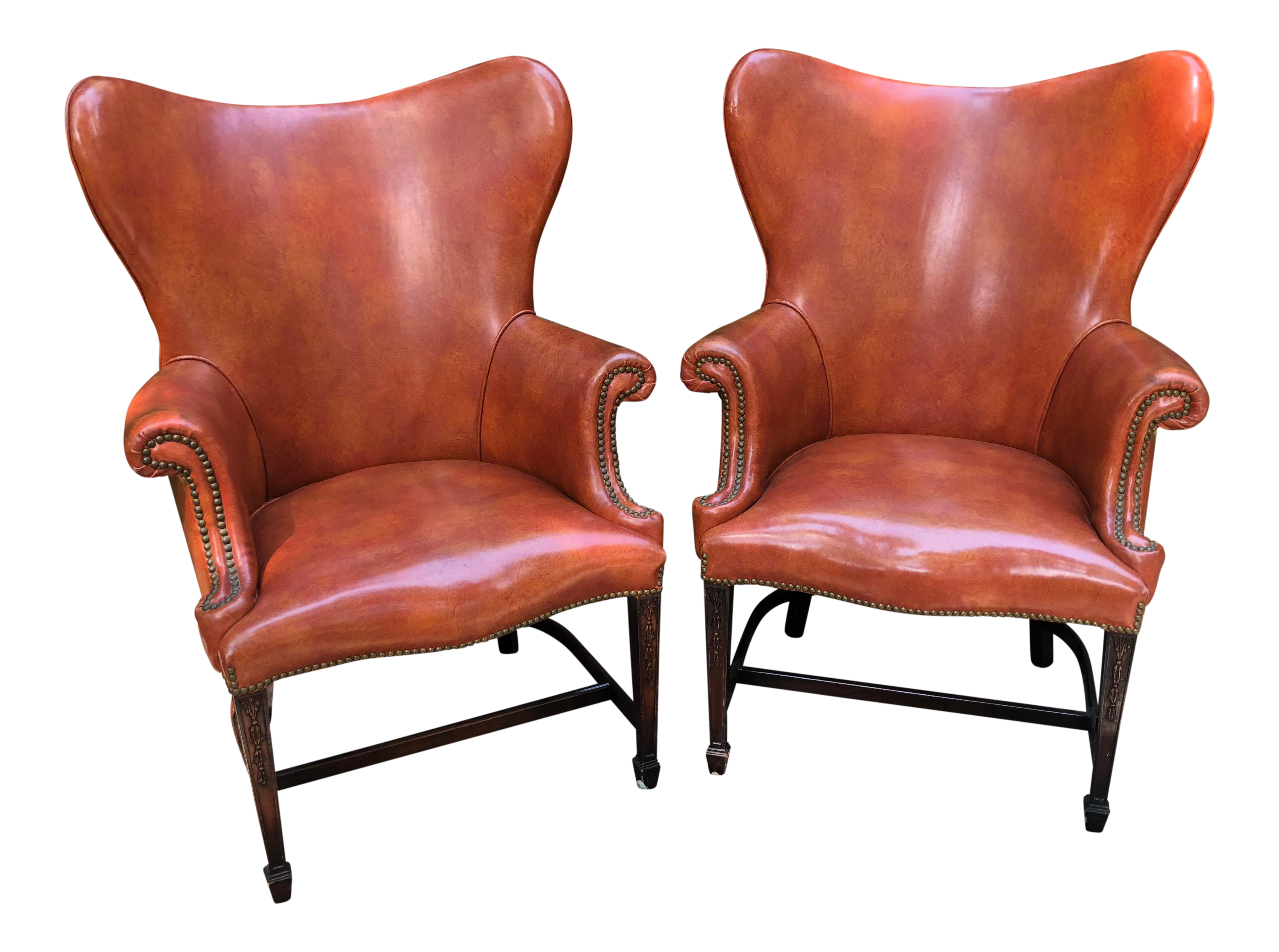 Genial 1960s Mid Century Modern Brown Faux Leather Wingback Chairs   A Pair