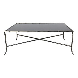 Maison Bagues Style Faux Bamboo Iron Glass Top Coffee Table For Sale