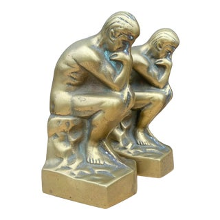 """Vintage """"The Thinker"""" Brass Bookends - a Pair For Sale"""