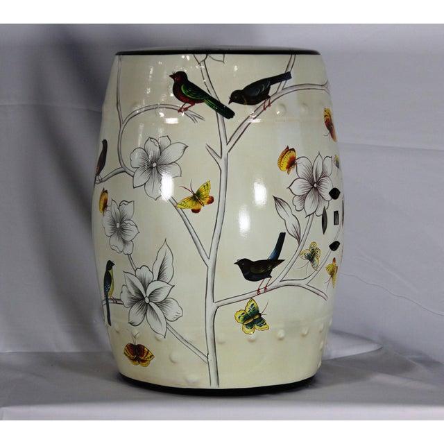 Modern Contemporary Floral Porcelain Garden Stool For Sale - Image 4 of 7