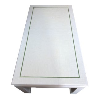 Custom Linen Wrapped Coffee Table in Cream With Green Trim Detail For Sale