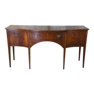 Biggs Furniture Inlaid Flamed Mahogany Federal Bow Front Sideboard Server Buffet For Sale
