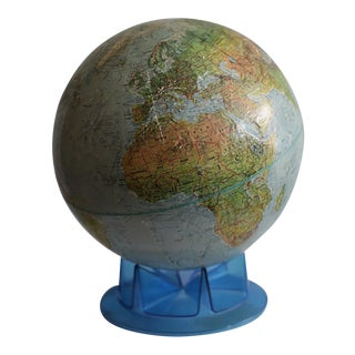Mid-century Replogle Land and Sea Globe on Stand c. 1960-1970s