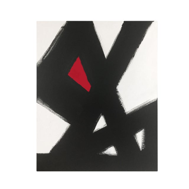 Black Slash No. 2 Red Acrylic on Canvas For Sale