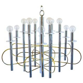 Italian Modern Sciolari Chrome, Brass and Glass Chandelier