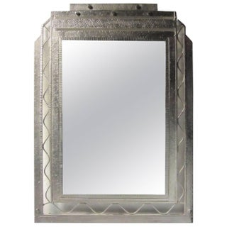 Large French Art Deco Hand-Hammered Nickeled Iron Mirror For Sale