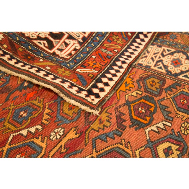 Figurative Antique Persian Rug Shirvan Design With Dainty Heart-Shaped Patterns Circa 1930's - 4′2″ × 9′8″ For Sale - Image 3 of 12