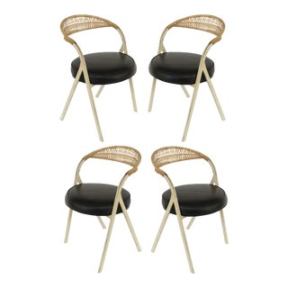 Arthur Unamoff Shaver Howard Steel & Wicker Dining Chairs- Set of 4 For Sale