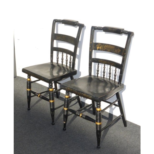 Black Vintage Spindle Back Windsor Chairs - A Pair - Image 3 of 11
