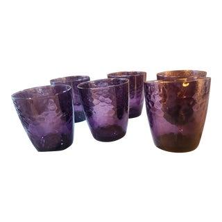 Vintage Bormioli Rocco Hammered Amethyst Art Glasses- Set of 6 For Sale