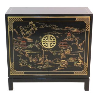 Drexel Heritage Chinoiserie Black Lacquer Chest For Sale