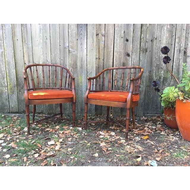 Bamboo Chairs & Orange Cushions - Pair - Image 2 of 5