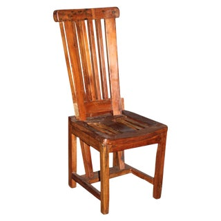 Teak Slat Stool Chair For Sale