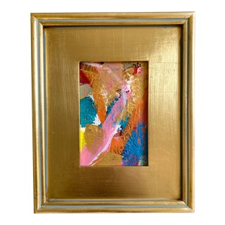 """""""Gold Patchwork"""" Mini Painting With Frame For Sale"""