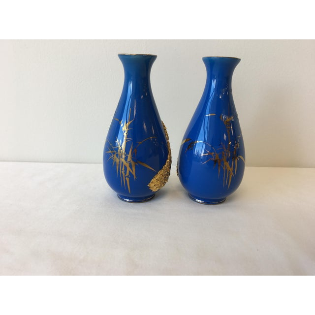 Blue and 18k Gold Vases with Peacock Design - A Pair - Image 5 of 8