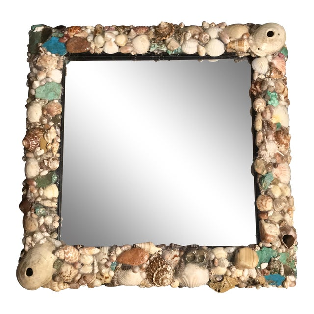 Turquoise and Seashell Embellished Mirror For Sale