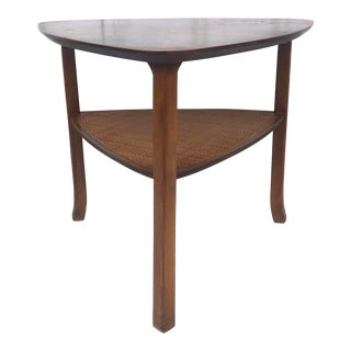 Mid-Century Triangular End Table With Cane Shelf For Sale