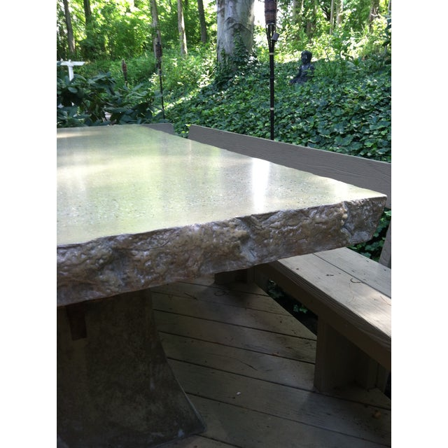 Industrial Rock Edge Deck Dining Table For Sale - Image 3 of 5