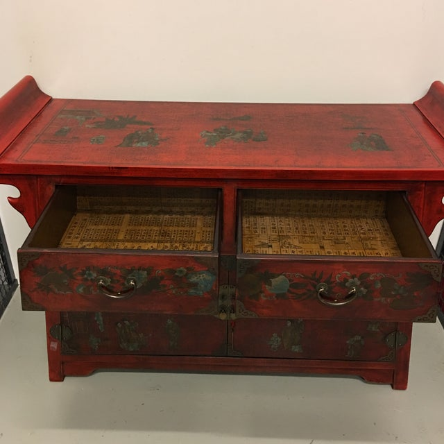 Chinese Antique Style Painted Buffet Cabinet - Image 6 of 8