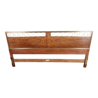John Widdicomb Mid-Century Hollywood Regency Burl Wood and Brass King Size Headboard For Sale