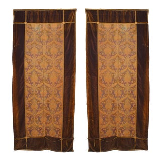 Gold and Brown Brocade Velvet Drapes For Sale
