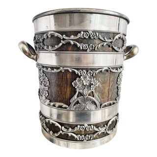 Antique Silver Plate & Oak Champagne Bucket For Sale