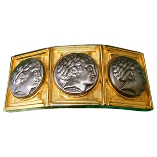 Alexis Kirk Massive Gilt Metal Roman Medallion Belt Buckle Circa 1980s For Sale