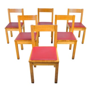 Modern English Oak Dining Chairs with Red Vinyl Seats - Set of 6 For Sale