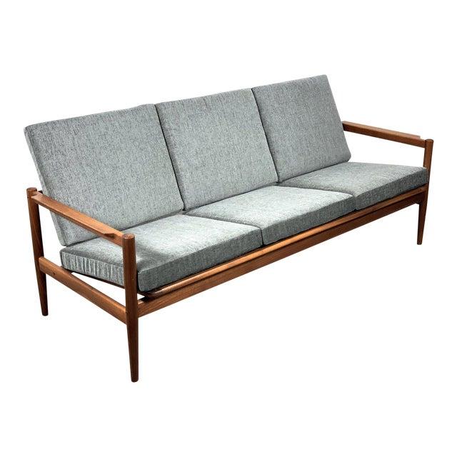 1950s Vintage Borge Jensen Teak Frame Gray Three Seat Sofa For Sale