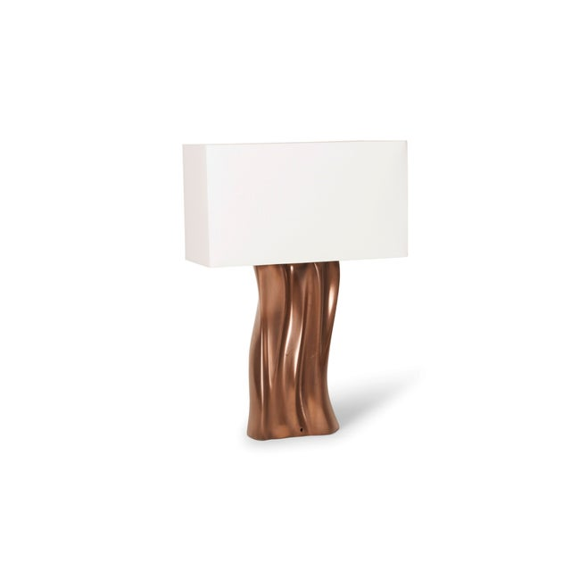 Not Yet Made - Made To Order Amorph Doris Table Lamp in Bronze Finish and Ivory Silk Shade For Sale - Image 5 of 8