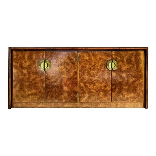 1980s Art Deco Burl Effect & Gold Credenza For Sale