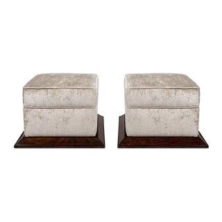 1930´s Art Deco Pair of Poufs, Mahogany Palm and Velvet - France For Sale