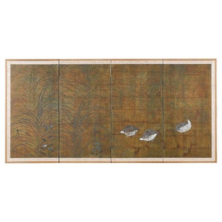 Japanese Four-Panel Screen Quail in Autumn Landscape For Sale