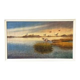 """Birds in Flight"" Swedish Oil Painting on Canvas"