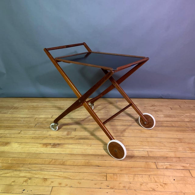 1970s Teak and Black Laminate Serving Trolley For Sale - Image 12 of 12