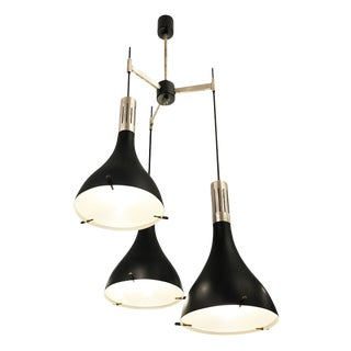 Mid-Century Italian Three Light Cluster Chandelier Attributed to Stilnovo For Sale
