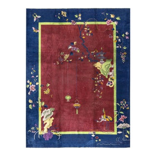 Contemporary Asiain Style Hand Woven Red & Blue Wool Rug - 9'0 X 11'8 For Sale